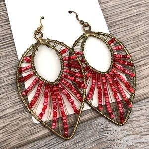 Vintage Costume Gold Tone Wired Red Bead Earrings